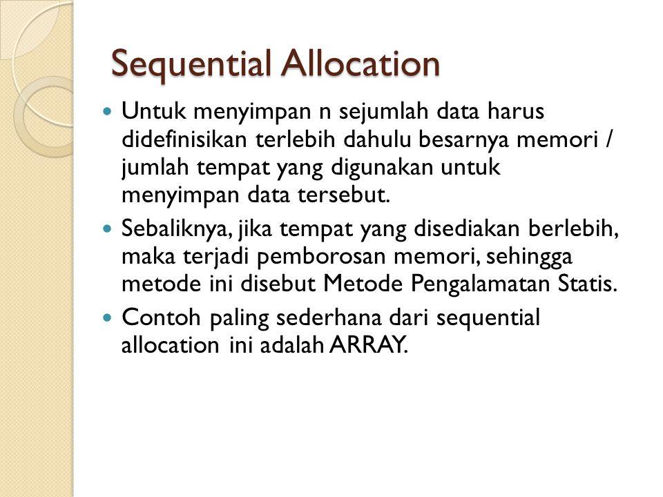 Sequential Allocation Untuk menyimpan n sejumlah data harus didefinisikan terlebih dahulu besarnya memori / jumlah tempat yang digunakan untuk menyimp