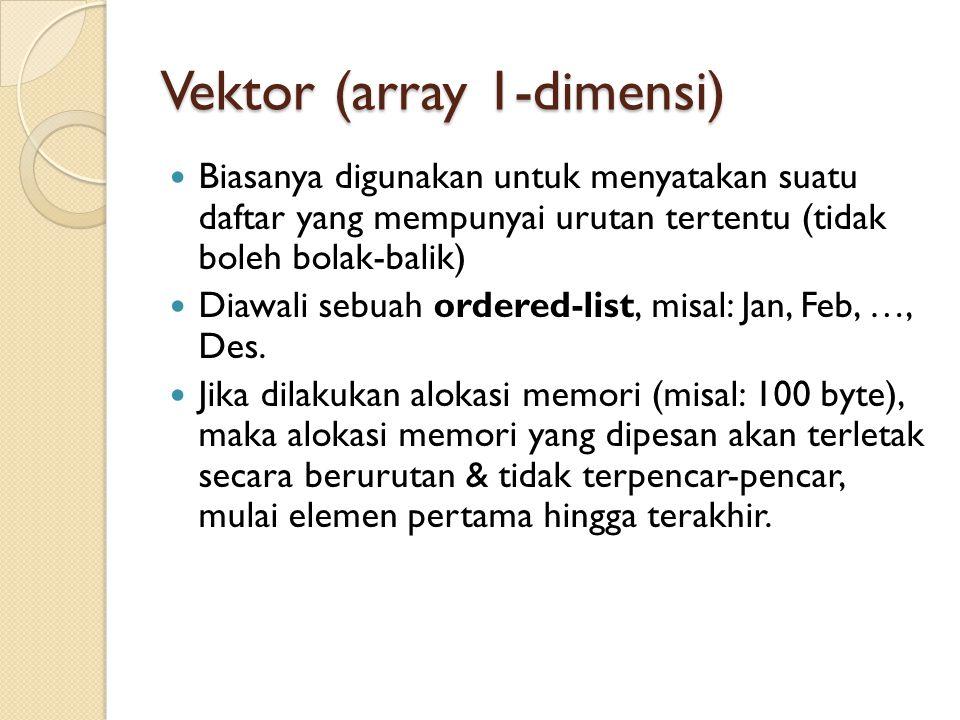 Vektor (array 1-dimensi) Biasanya digunakan untuk menyatakan suatu daftar yang mempunyai urutan tertentu (tidak boleh bolak-balik) Diawali sebuah orde