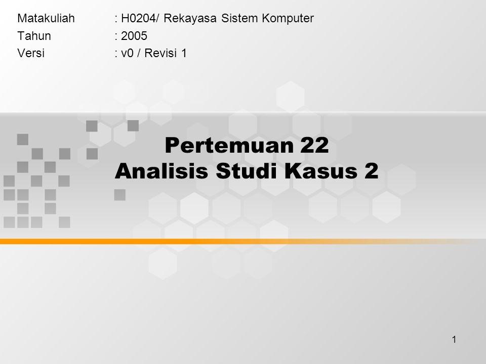 1 Pertemuan 22 Analisis Studi Kasus 2 Matakuliah: H0204/ Rekayasa Sistem Komputer Tahun: 2005 Versi: v0 / Revisi 1