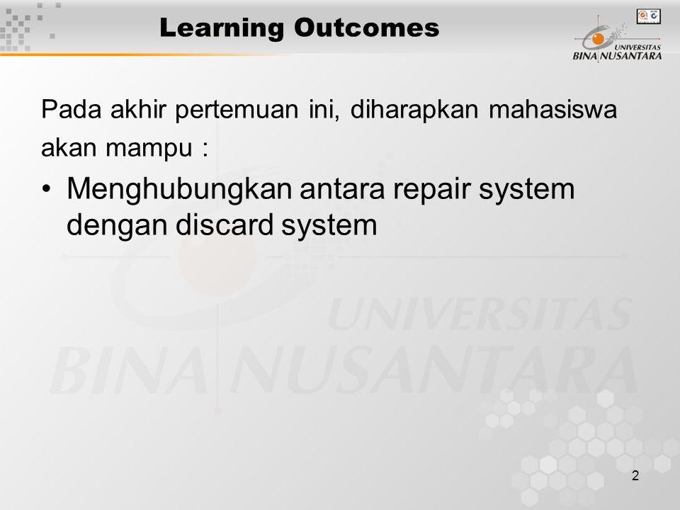 2 Learning Outcomes Pada akhir pertemuan ini, diharapkan mahasiswa akan mampu : Menghubungkan antara repair system dengan discard system