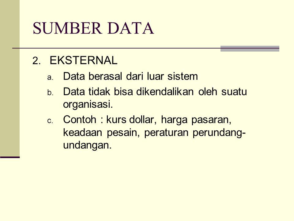 SUMBER DATA 2. EKSTERNAL a. Data berasal dari luar sistem b. Data tidak bisa dikendalikan oleh suatu organisasi. c. Contoh : kurs dollar, harga pasara