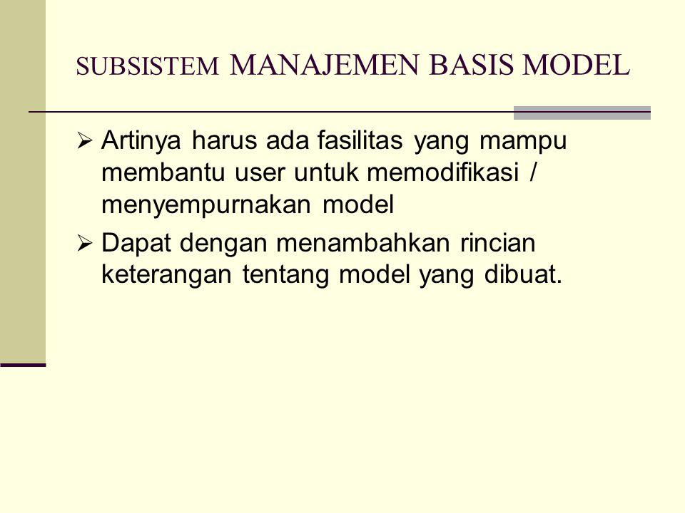 SUBSISTEM MANAJEMEN BASIS MODEL  Artinya harus ada fasilitas yang mampu membantu user untuk memodifikasi / menyempurnakan model  Dapat dengan menamb