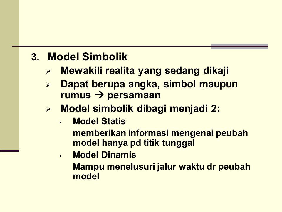 3. Model Simbolik  Mewakili realita yang sedang dikaji  Dapat berupa angka, simbol maupun rumus  persamaan  Model simbolik dibagi menjadi 2:  Mod