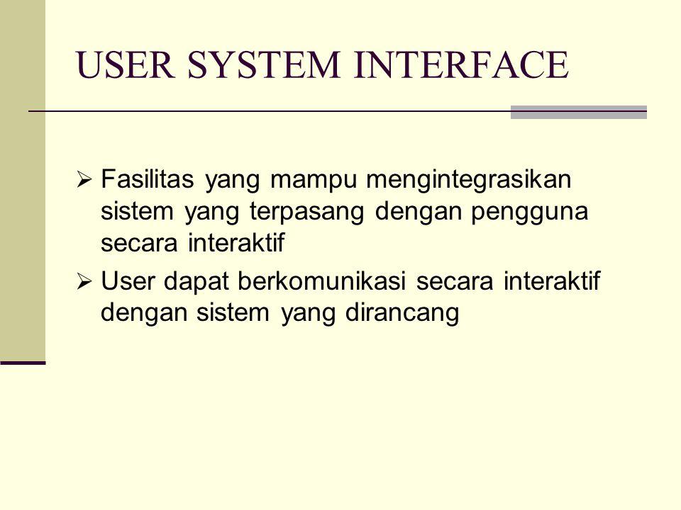 USER SYSTEM INTERFACE  Fasilitas yang mampu mengintegrasikan sistem yang terpasang dengan pengguna secara interaktif  User dapat berkomunikasi secar