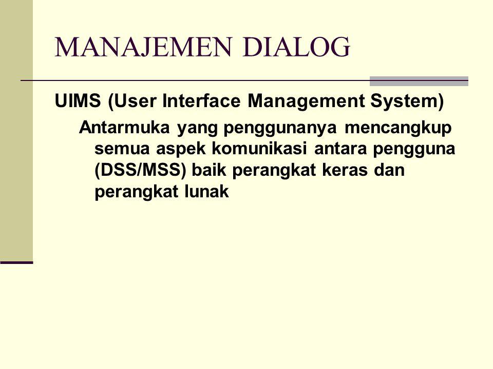 MANAJEMEN DIALOG UIMS (User Interface Management System) Antarmuka yang penggunanya mencangkup semua aspek komunikasi antara pengguna (DSS/MSS) baik p