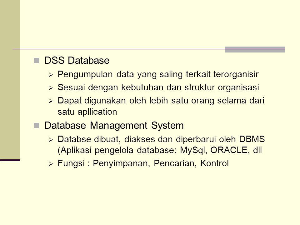DSS Database  Pengumpulan data yang saling terkait terorganisir  Sesuai dengan kebutuhan dan struktur organisasi  Dapat digunakan oleh lebih satu o