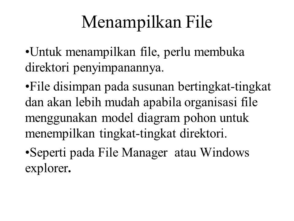 Menampilkan File Untuk menampilkan file, perlu membuka direktori penyimpanannya. File disimpan pada susunan bertingkat-tingkat dan akan lebih mudah ap
