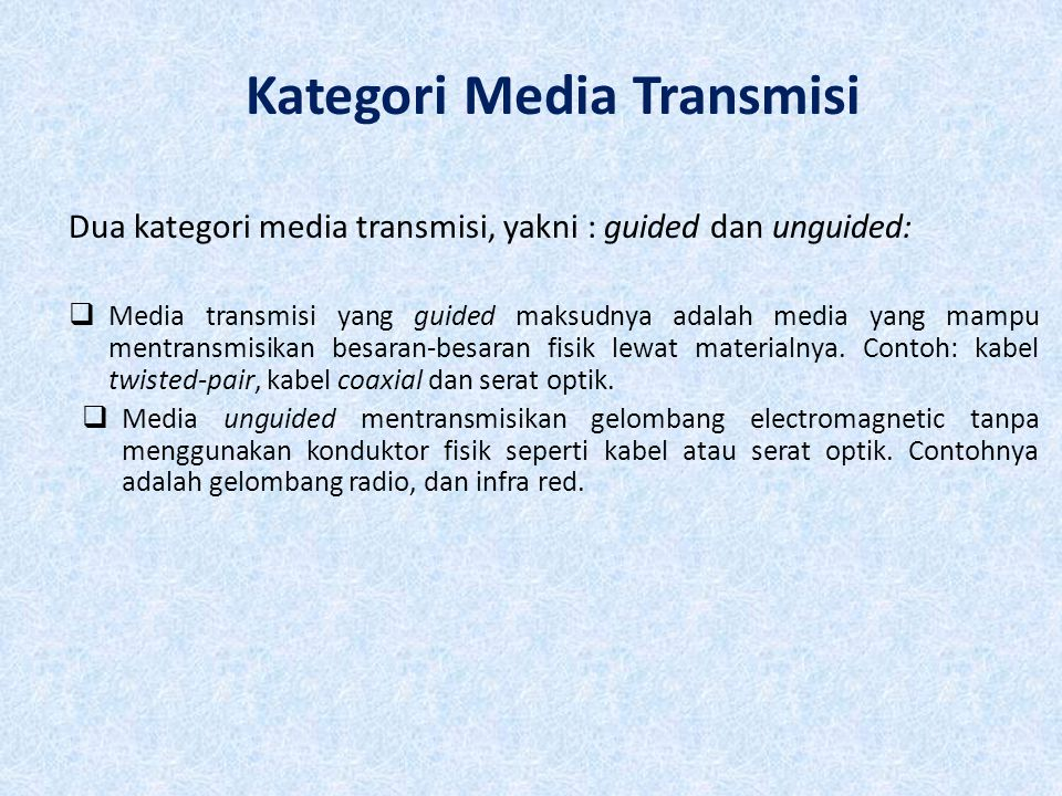 Kategori dan kelas Twisted Pair Category 3 Class C Category 5 Class D Category 5E Category 6 Class E Category 7 Class F Bandwidth16 MHz100 MHz 200 MHz600 MHz Cable TypeUTPUTP/FTP SSTP Link Cost (Cat 5 =1) 0.711.21.52.2