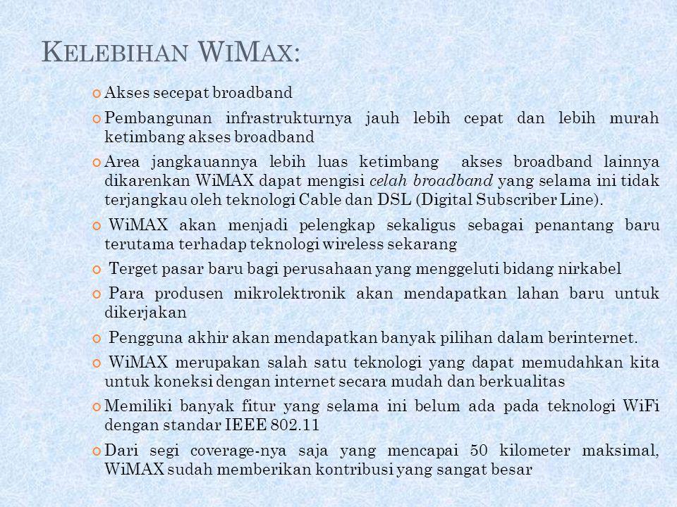 M ANFAAT W I MAX Bandwidth dan jangkauan WiMAX memungkinkan teknologi ini digunakan pada aplikasi-aplikasi berikut: Menghubungkan satu hotspot Wi-Fi d