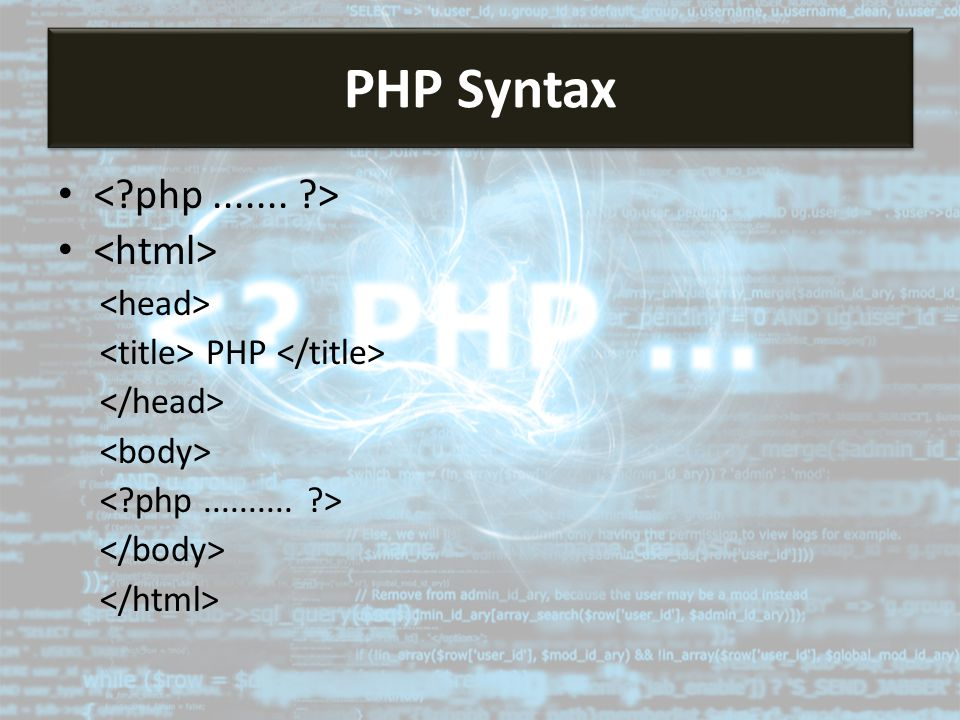 PHP PHP Syntax
