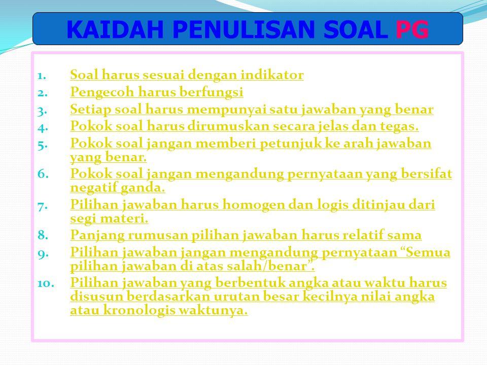 Contoh pilihan berbentuk pernyataan/puisi (Bahasa Indonesia, SMP- PG) Kompetensi yang diuji : menyusun puisi berdasarkan gambar. Indikator : Disajikan