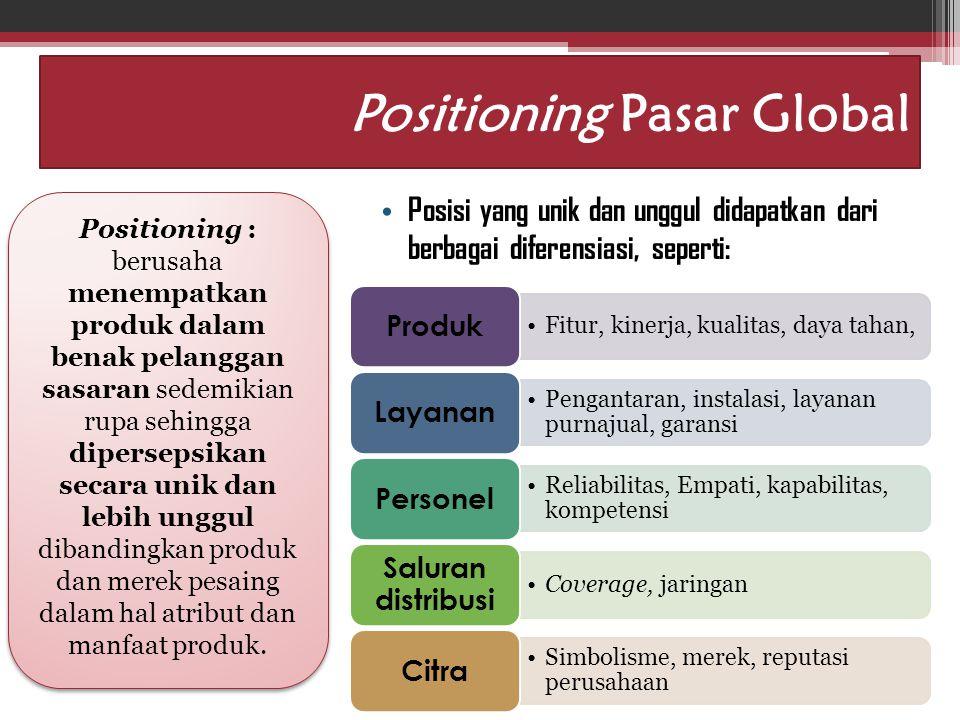 Idham Cholid Positioning Pasar Global Posisi yang unik dan unggul didapatkan dari berbagai diferensiasi, seperti: Positioning : berusaha menempatkan p