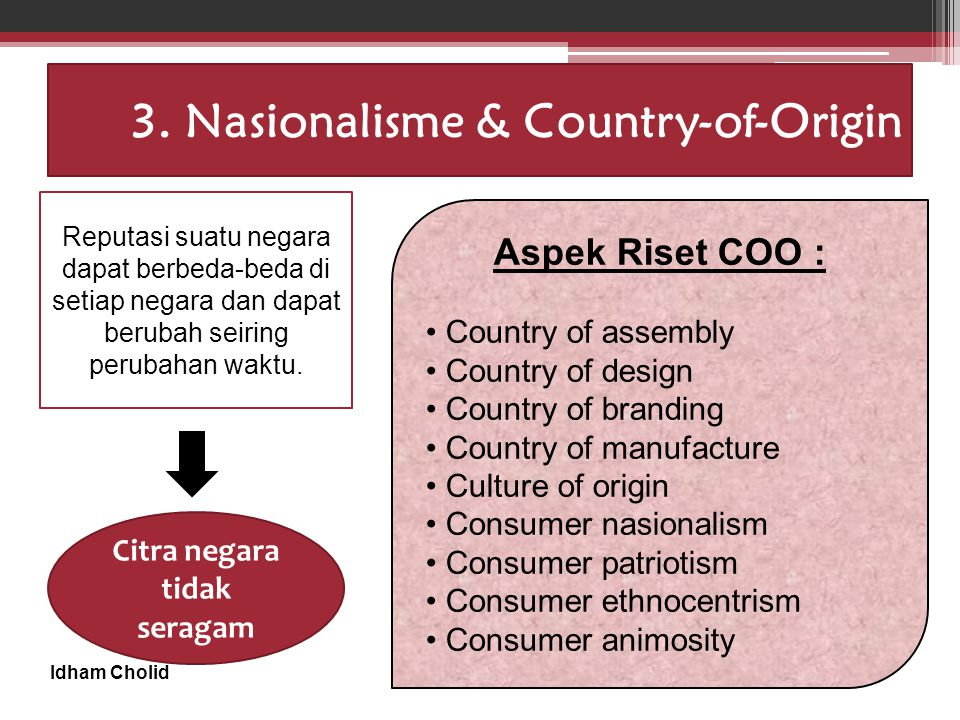 Idham Cholid 3. Nasionalisme & Country-of-Origin Aspek Riset COO : Country of assembly Country of design Country of branding Country of manufacture Cu