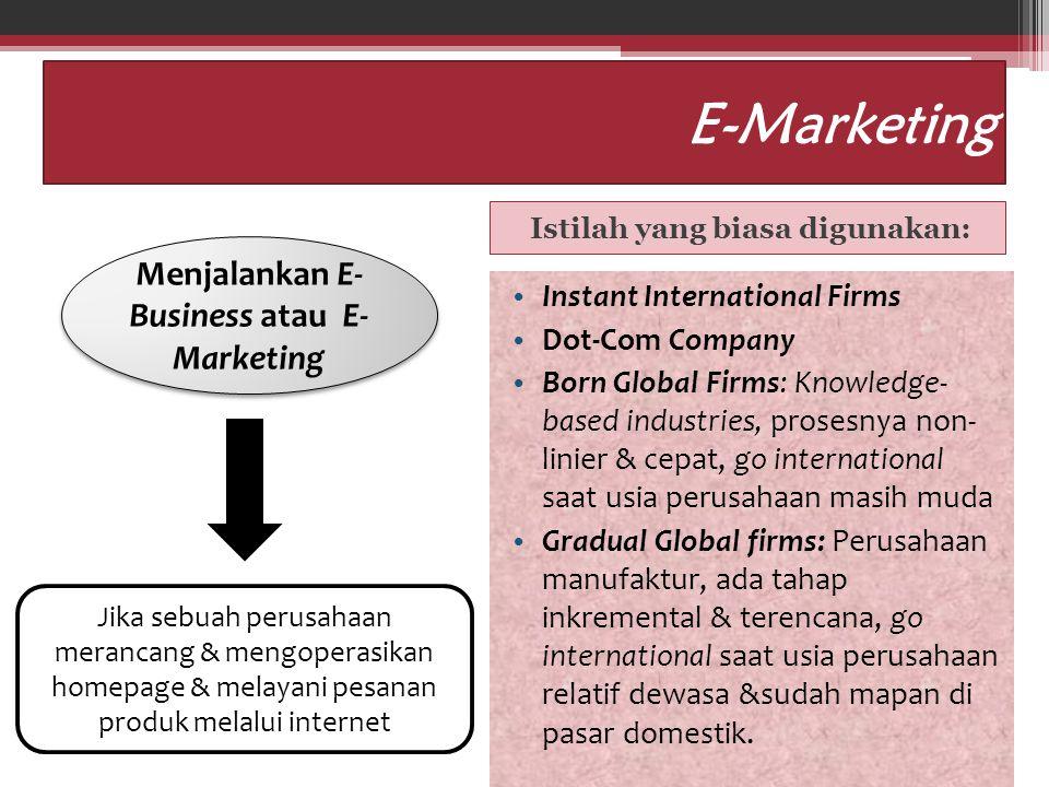 E-Marketing Istilah yang biasa digunakan: Instant International Firms Dot-Com Company Born Global Firms: Knowledge- based industries, prosesnya non- l