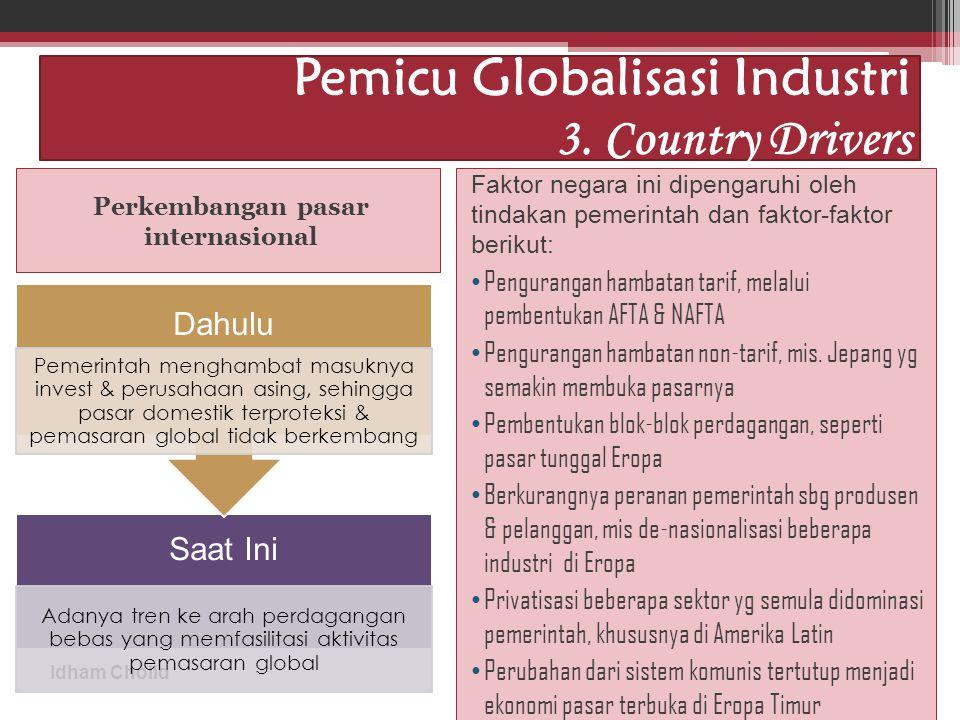 Idham Cholid Pemicu Globalisasi Industri 3. Country Drivers Perkembangan pasar internasional Faktor negara ini dipengaruhi oleh tindakan pemerintah da