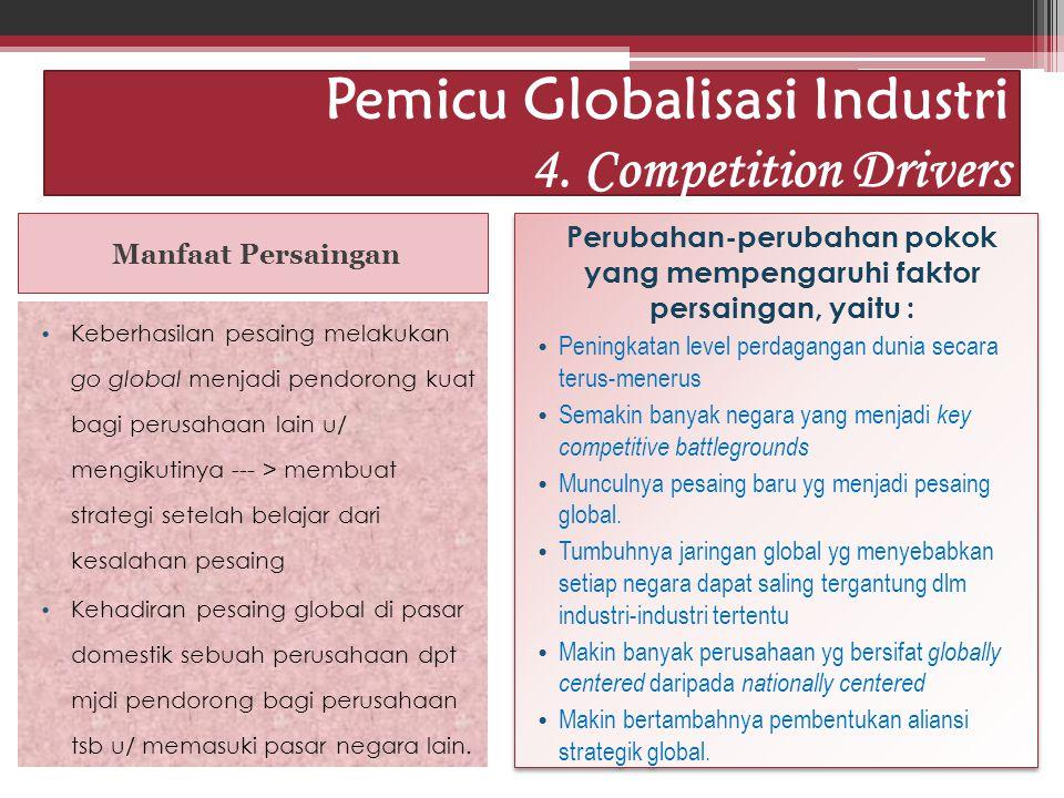 Idham Cholid Pemicu Globalisasi Industri 4. Competition Drivers Manfaat Persaingan Keberhasilan pesaing melakukan go global menjadi pendorong kuat bag