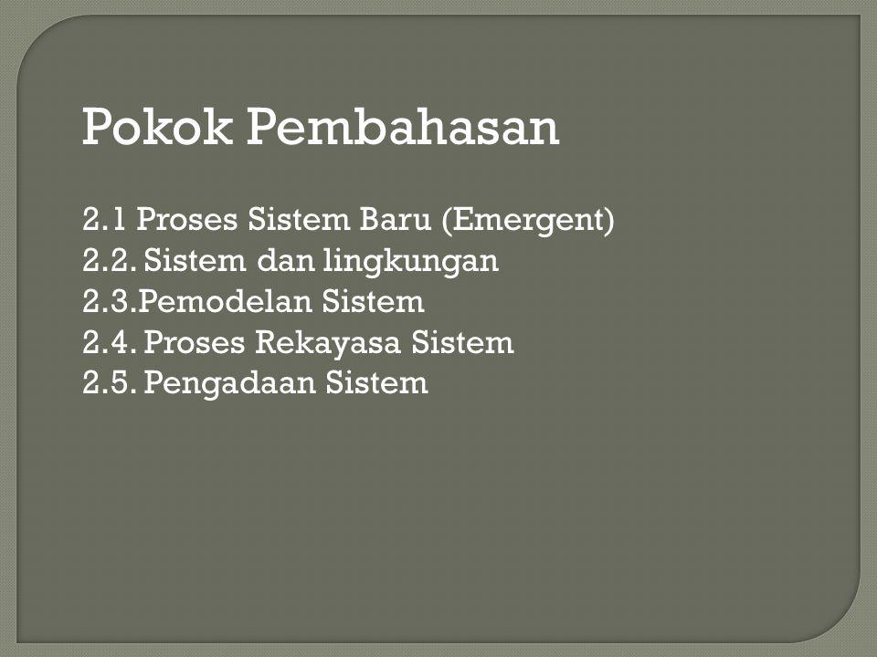 Pokok Pembahasan 2.1 Proses Sistem Baru (Emergent) 2.2. Sistem dan lingkungan 2.3.Pemodelan Sistem 2.4. Proses Rekayasa Sistem 2.5. Pengadaan Sistem