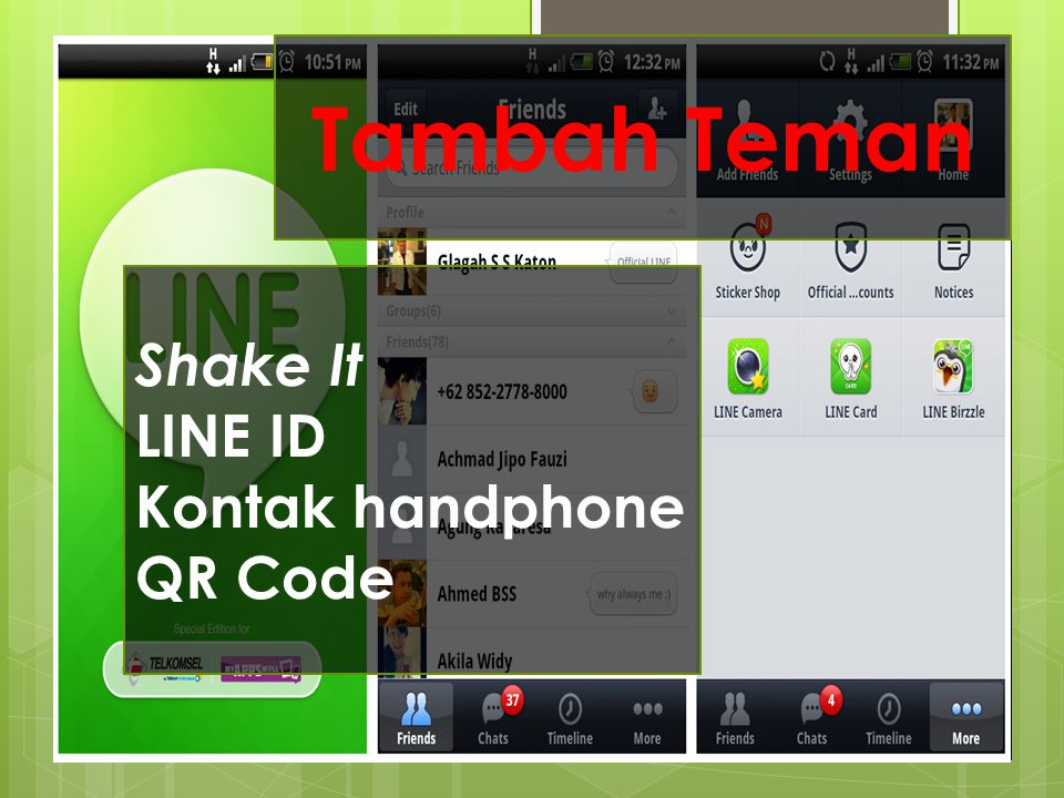 Tambah Teman Shake It LINE ID Kontak handphone QR Code