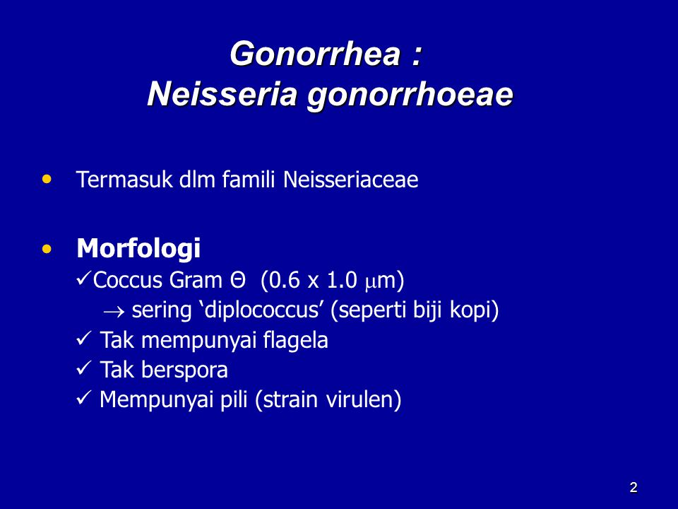 Gonorrhea : Neisseria gonorrhoeae 2 Termasuk dlm famili Neisseriaceae Morfologi Coccus Gram Θ (0.6 x 1.0  m)  sering 'diplococcus' (seperti biji kop