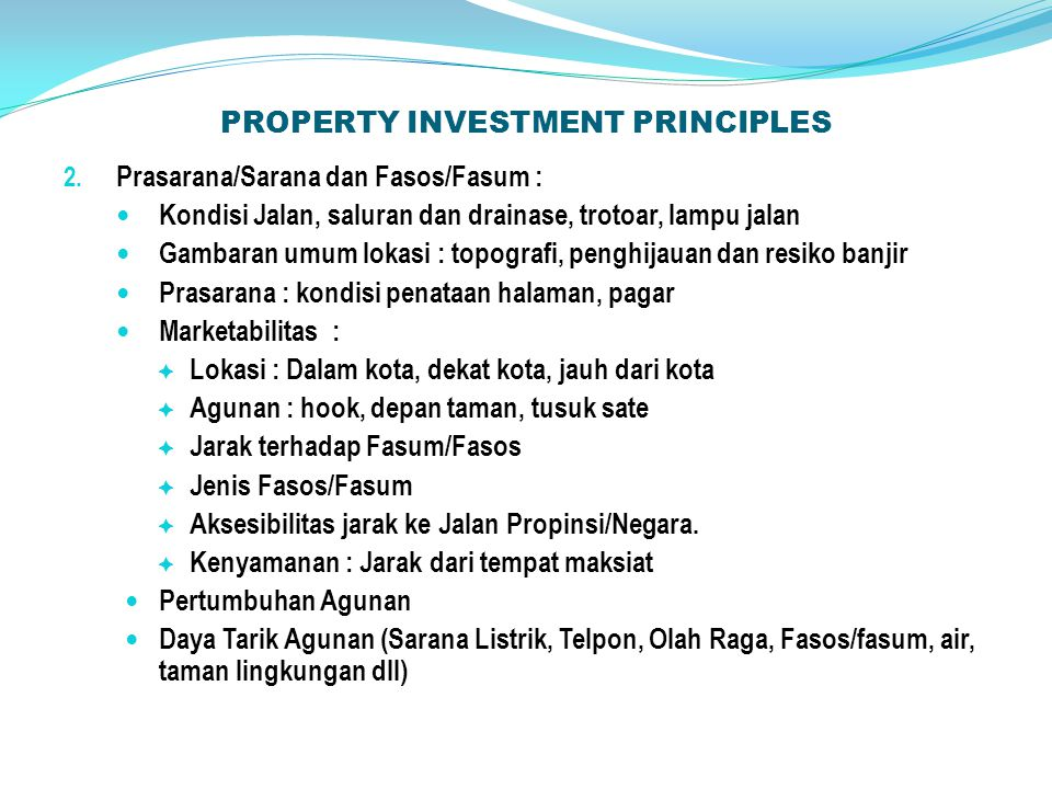 PROPERTY INVESTMENT PRINCIPLES 2.
