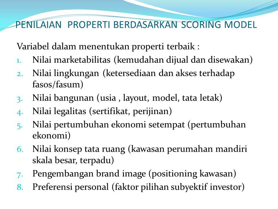 PENILAIAN PROPERTI BERDASARKAN SCORING MODEL Variabel dalam menentukan properti terbaik : 1.