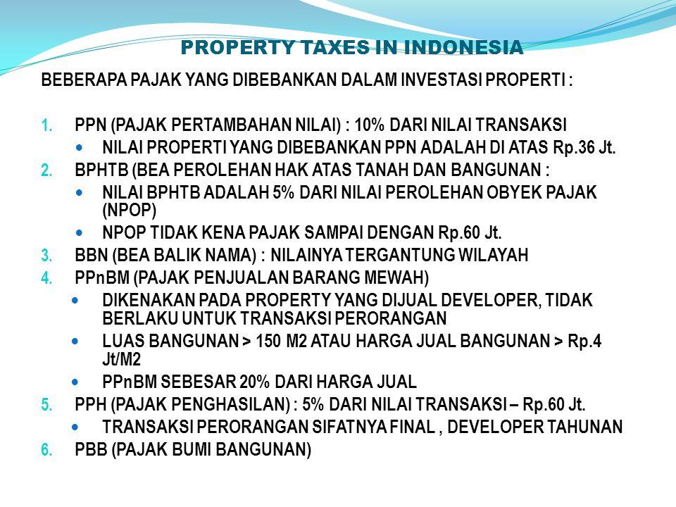 PROPERTY TAXES IN INDONESIA BEBERAPA PAJAK YANG DIBEBANKAN DALAM INVESTASI PROPERTI : 1.