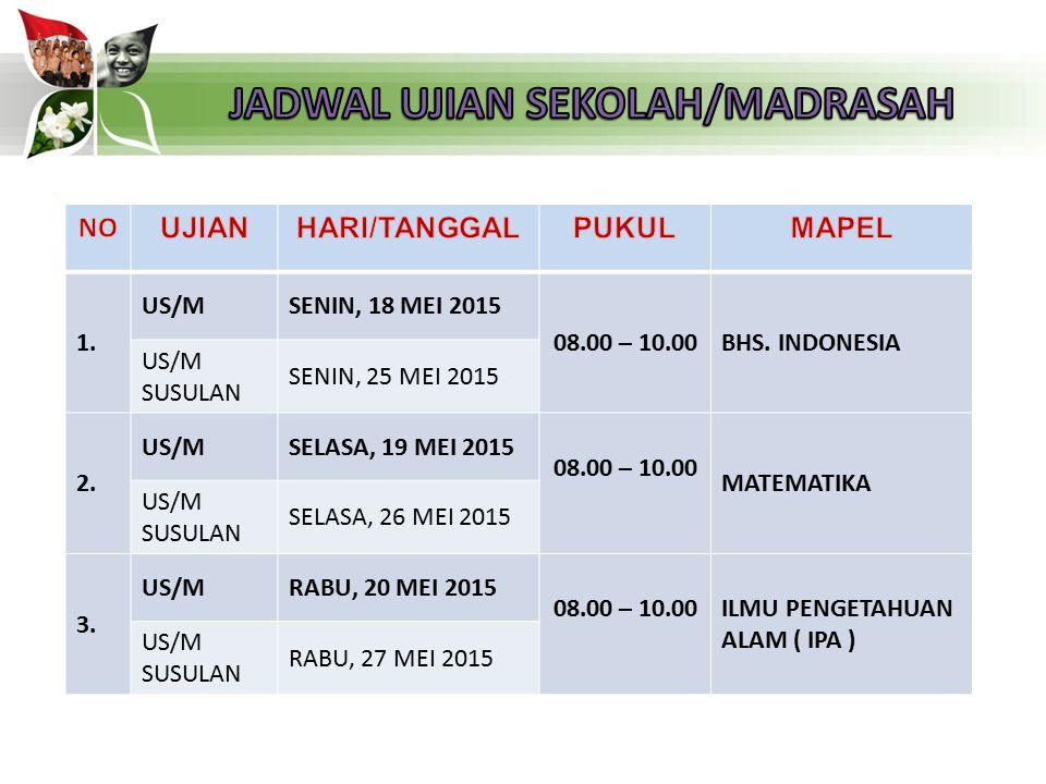 1. US/MSENIN, 18 MEI 2015 08.00 – 10.00BHS. INDONESIA US/M SUSULAN SENIN, 25 MEI 2015 2. US/MSELASA, 19 MEI 2015 08.00 – 10.00 MATEMATIKA US/M SUSULAN