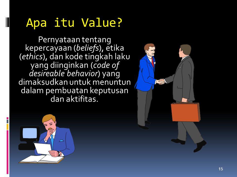 Apa itu Value? Pernyataan tentang kepercayaan (beliefs), etika (ethics), dan kode tingkah laku yang diinginkan (code of desireable behavior) yang dima