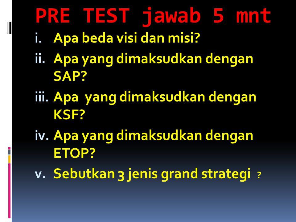 PRE TEST jawab 5 mnt i. Apa beda visi dan misi? ii. Apa yang dimaksudkan dengan SAP? iii. Apa yang dimaksudkan dengan KSF? iv. Apa yang dimaksudkan de