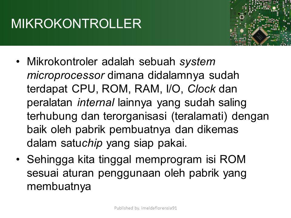 MIKROKONTROLLER Mikrokontroler adalah sebuah system microprocessor dimana didalamnya sudah terdapat CPU, ROM, RAM, I/O, Clock dan peralatan internal l