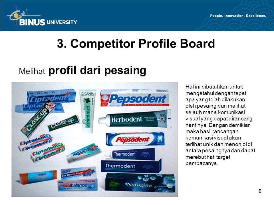 Bina Nusantara University 8 3. Competitor Profile Board Melihat profil dari pesaing Hal ini dibutuhkan untuk mengetahui dengan tepat apa yang telah di