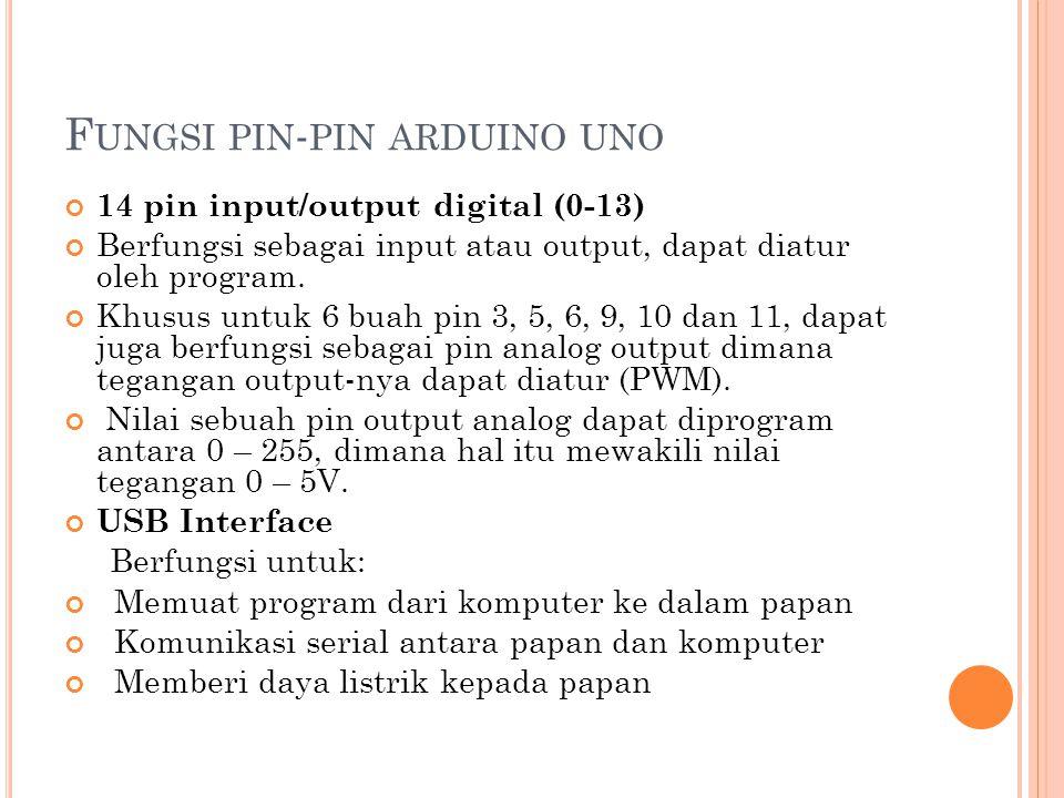 F UNGSI PIN - PIN ARDUINO UNO 14 pin input/output digital (0-13) Berfungsi sebagai input atau output, dapat diatur oleh program. Khusus untuk 6 buah p