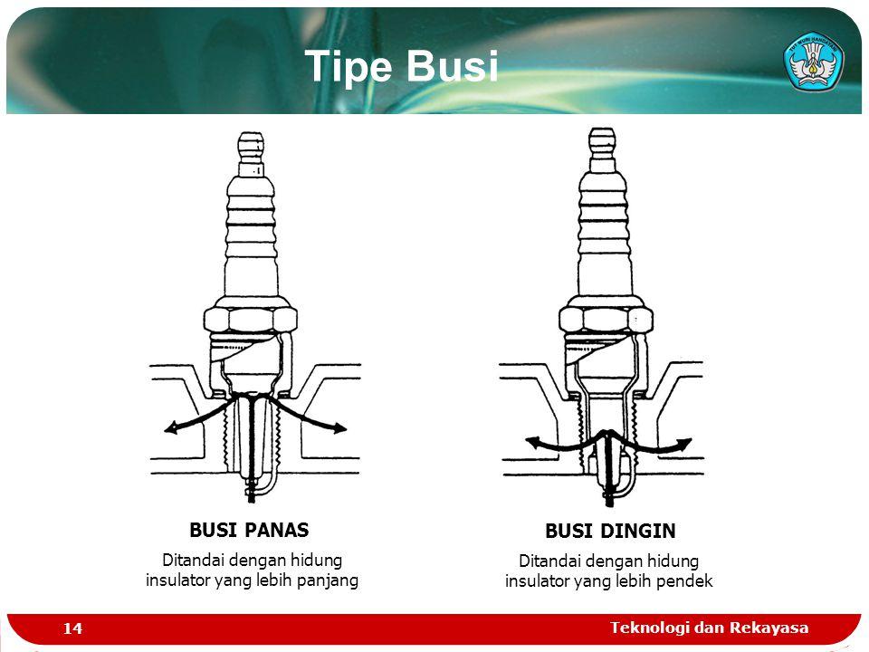 Teknologi dan Rekayasa 14 Tipe Busi BUSI PANAS Ditandai dengan hidung insulator yang lebih panjang BUSI DINGIN Ditandai dengan hidung insulator yang lebih pendek