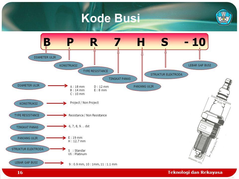 Teknologi dan Rekayasa 16 Kode Busi B P R 7 H S - 10 DIAMETER ULIR KONSTRUKSI TYPE RESISTANCE TINGKAT PANAS PANJANG ULIR STRUKTUR ELEKTRODA LEBAR GAP BUSI A : 18 mmD : 12 mm B : 14 mmE : 8 mm C : 10 mm DIAMETER ULIR KONSTRUKSI Project / Non Project TYPE RESISTANCE Resistance / Non Resistance TINGKAT PANAS 6, 7, 8, 9….