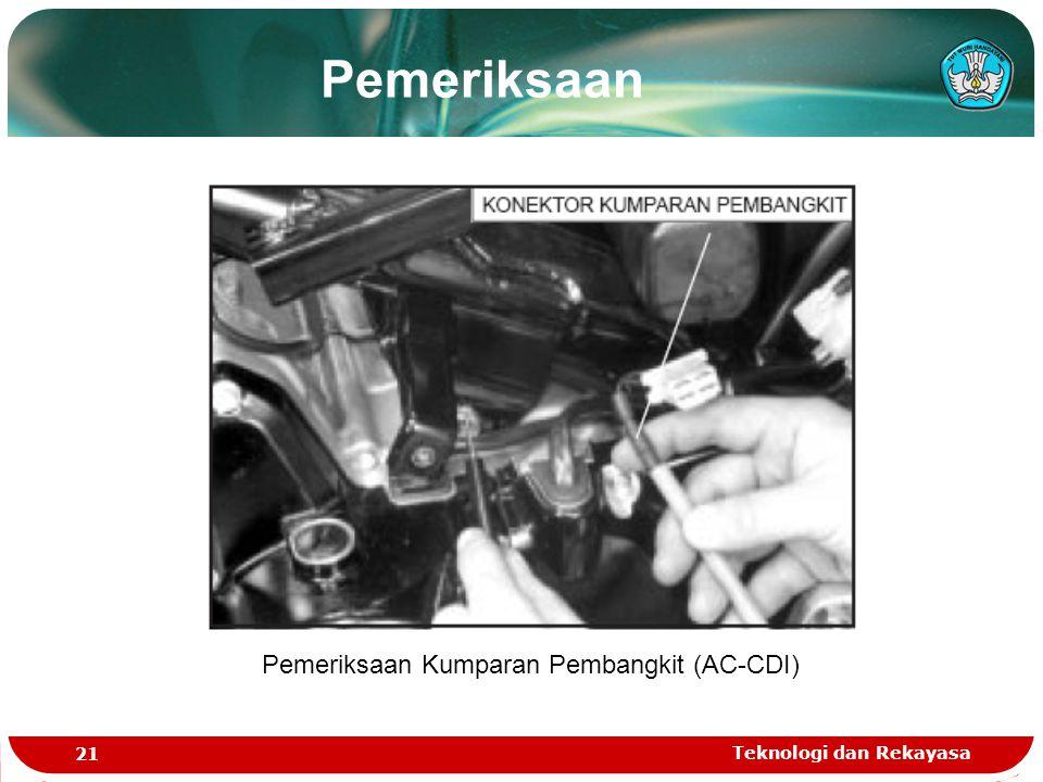 Teknologi dan Rekayasa 21 Pemeriksaan Kumparan Pembangkit (AC-CDI) Pemeriksaan