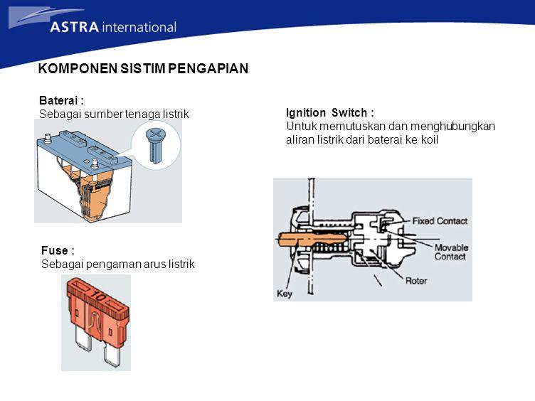 KOMPONEN SISTIM PENGAPIAN Baterai : Sebagai sumber tenaga listrik Fuse : Sebagai pengaman arus listrik Ignition Switch : Untuk memutuskan dan menghubungkan aliran listrik dari baterai ke koil