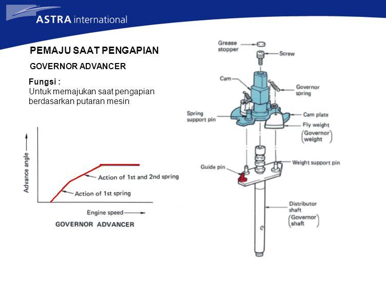 Fungsi : Untuk memajukan saat pengapian berdasarkan putaran mesin PEMAJU SAAT PENGAPIAN GOVERNOR ADVANCER
