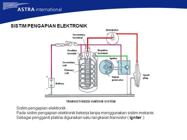 SISTIM PENGAPIAN ELEKTRONIK Sistim pengapian elektronik : Pada sistim pengapian elektronik bekerja tanpa menggunakan sistim mekanis Sebagai pengganti platina digunakan satu rangkaian transistor ( Igniter )
