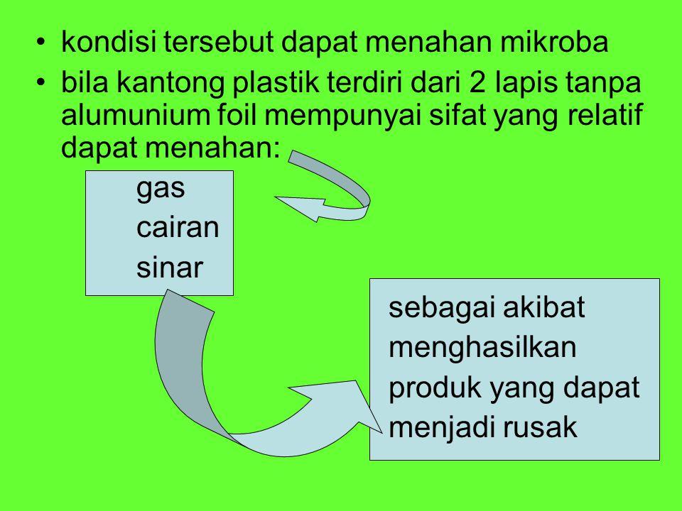 Kantong Tahan Sterilisasi Mempunyai 5 Keuntungan : Waktu proses dapat bermakna (signifikansi) bila dibandingkan dari bahan pengemas metal atau gelas pada kondisi kapasitas yang sama, dan dapat memperbaiki mutu produk.