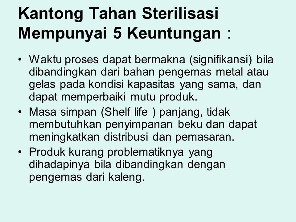 Kantong Tahan Sterilisasi Mempunyai 5 Keuntungan : Waktu proses dapat bermakna (signifikansi) bila dibandingkan dari bahan pengemas metal atau gelas p
