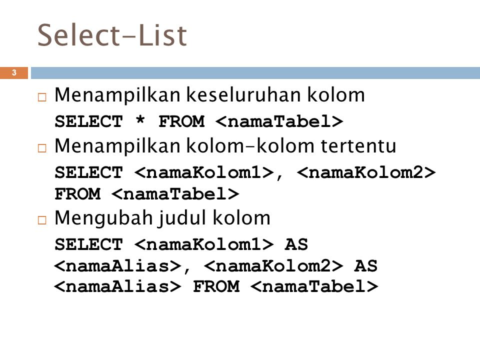 Select-List 3  Menampilkan keseluruhan kolom SELECT * FROM  Menampilkan kolom-kolom tertentu SELECT, FROM  Mengubah judul kolom SELECT AS, AS FROM
