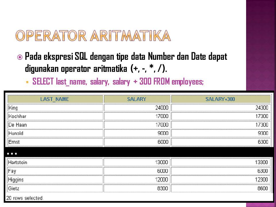  Pada ekspresi SQL dengan tipe data Number dan Date dapat digunakan operator aritmatika (+, -, *, /).