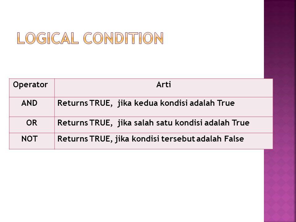 OperatorArti ANDReturns TRUE, jika kedua kondisi adalah True ORReturns TRUE, jika salah satu kondisi adalah True NOTReturns TRUE, jika kondisi tersebut adalah False