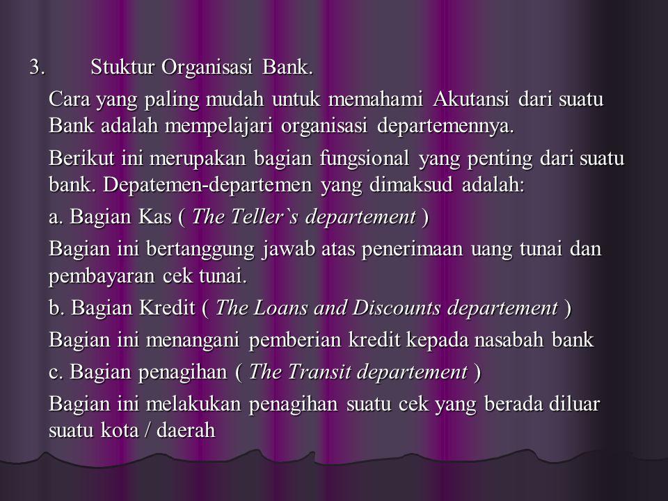 3. Stuktur Organisasi Bank. 3. Stuktur Organisasi Bank. Cara yang paling mudah untuk memahami Akutansi dari suatu Bank adalah mempelajari organisasi d