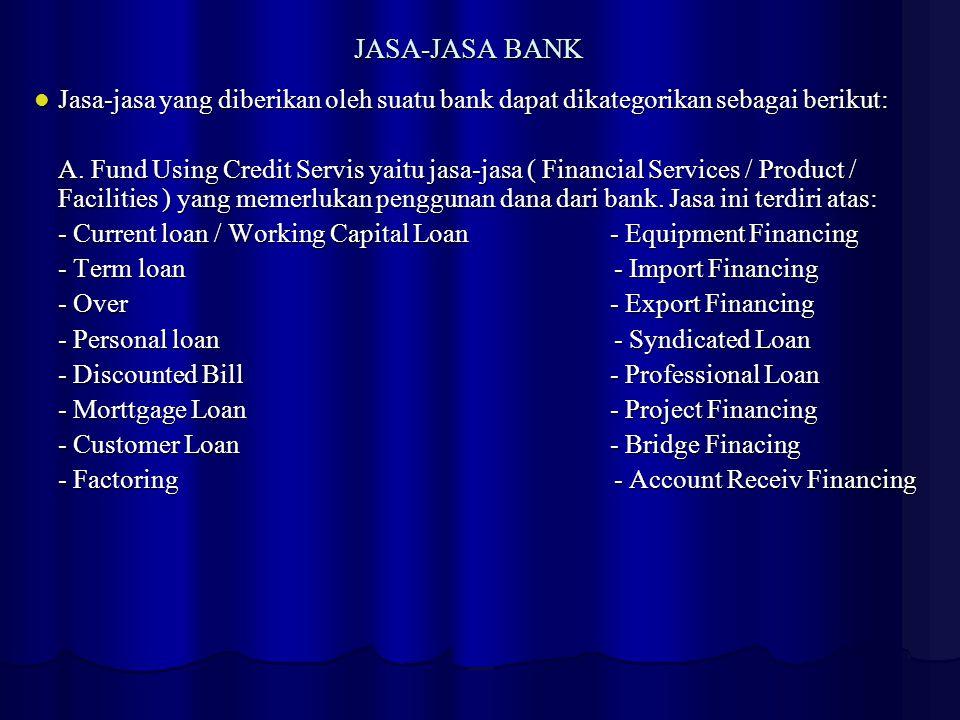 JASA-JASA BANK Jasa-jasa yang diberikan oleh suatu bank dapat dikategorikan sebagai berikut: A. Fund Using Credit Servis yaitu jasa-jasa ( Financial S