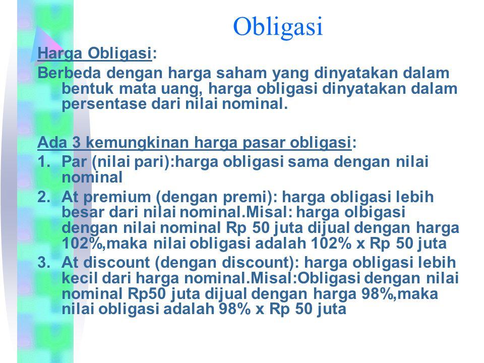 Harga Obligasi: Berbeda dengan harga saham yang dinyatakan dalam bentuk mata uang, harga obligasi dinyatakan dalam persentase dari nilai nominal.