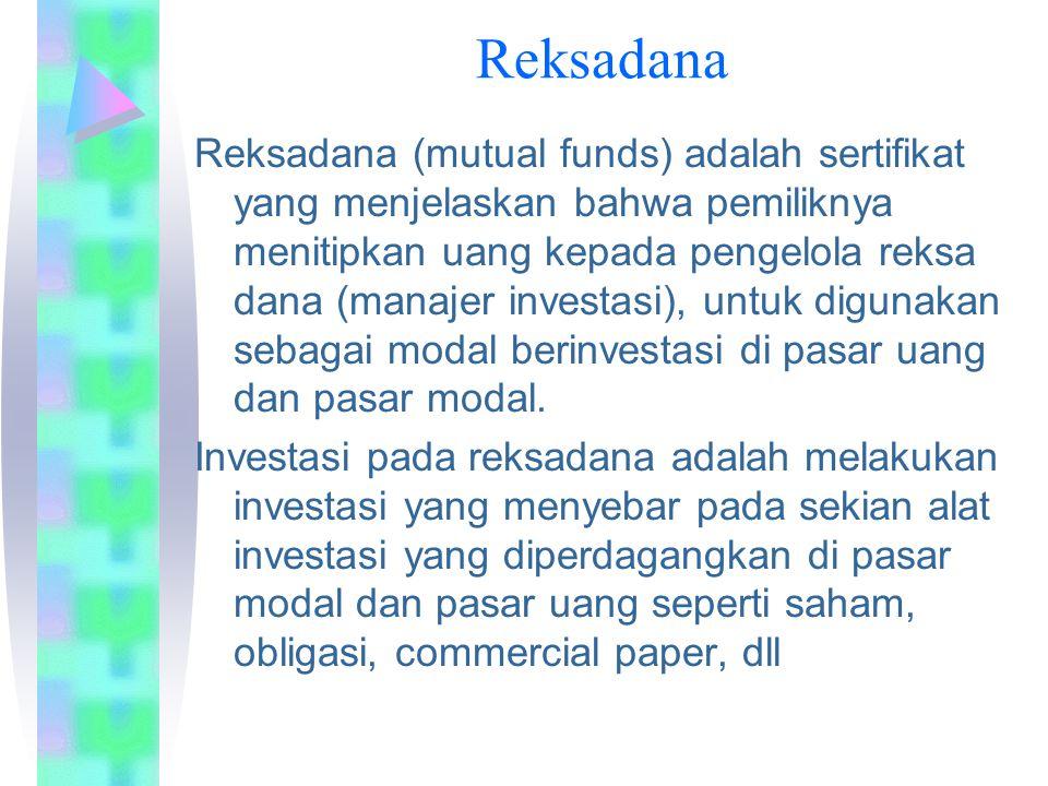 Reksadana Reksadana (mutual funds) adalah sertifikat yang menjelaskan bahwa pemiliknya menitipkan uang kepada pengelola reksa dana (manajer investasi), untuk digunakan sebagai modal berinvestasi di pasar uang dan pasar modal.