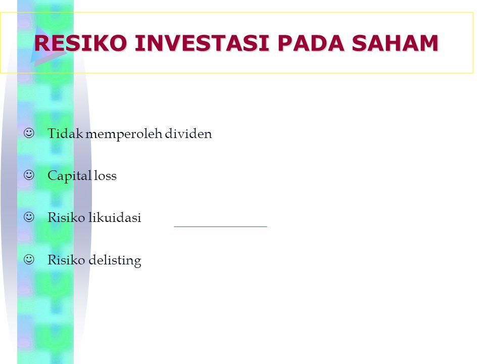 JTidak memperoleh dividen JCapital loss JRisiko likuidasi JRisiko delisting RESIKO INVESTASI PADA SAHAM