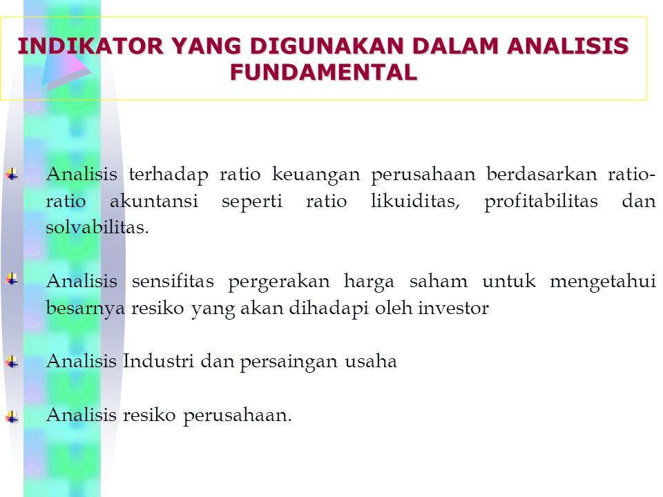 Analisis terhadap ratio keuangan perusahaan berdasarkan ratio- ratio akuntansi seperti ratio likuiditas, profitabilitas dan solvabilitas.