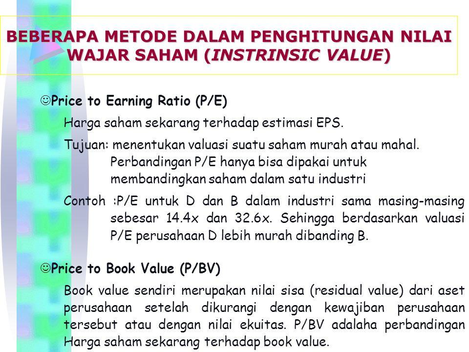 JPrice to Earning Ratio (P/E) Harga saham sekarang terhadap estimasi EPS.